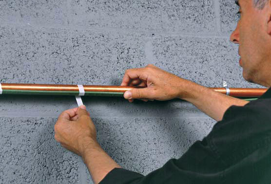 Монтаж греющего саморегулирующего кабеля на трубу